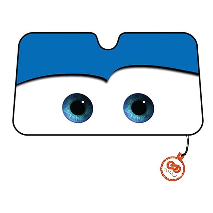 Parasol Parabrisas Delantero de Coche con Diseño Ojos Dibujos Animados - Azul: Amazon.es: Coche y moto