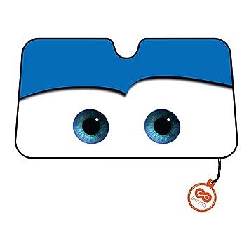 Parasol Parabrisas Delantero de Coche con Diseño Ojos Dibujos Animados - Azul