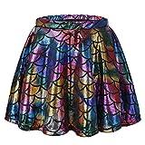 TFJH E Little Girls Dance Tutu Skirt Shiny Fish Scale Athletic Dancewear Colorful Skirt L