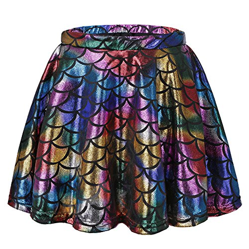 TFJH E Little Girls Dance Tutu Skirt Shiny Fish Scale Athletic Dancewear Colorful Skirt M for $<!--$12.39-->