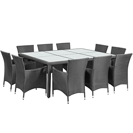 Astounding Festnight 11Pcs Patio Wicker Rattan Dinning Set Rectangle Table And 10 Chairs Outdoor Furniture Set Home Interior And Landscaping Palasignezvosmurscom