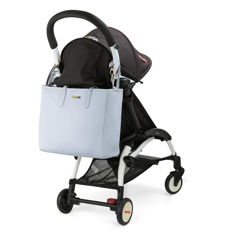 mommore Wickeltasche Gross Baby Organizer Wasserabweisung mit Wickelunterlage Windeltasche Babytasche an Kinderwagen Grau