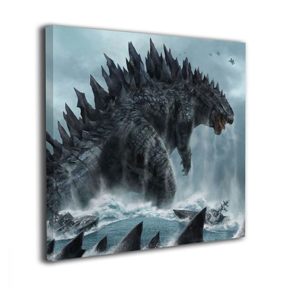 Little Monster Godzilla Sea Framed Painting On Canvas Home Decorations Modern Artwork Art for Child Bedroom Bathroom 12''x12''