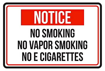 Amazon.com: Vapor de aviso no smoking no fumar no e ...