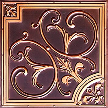 discounted decorative ceiling tile flat 204 antique copper 2x2 can be glue or drop - Decorative Ceiling Tiles