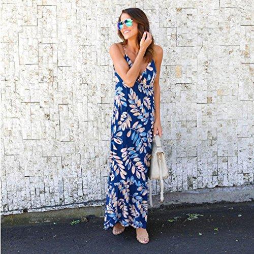 Ouneed Mujeres hoja de impresión flor Gallus escote v sin mangas de longitud vestido largo Azul oscuro