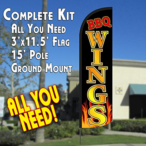 Nice BBQ Wings Windless Feather Banner Flag Kit (Flag, Pole, & Ground Mt)
