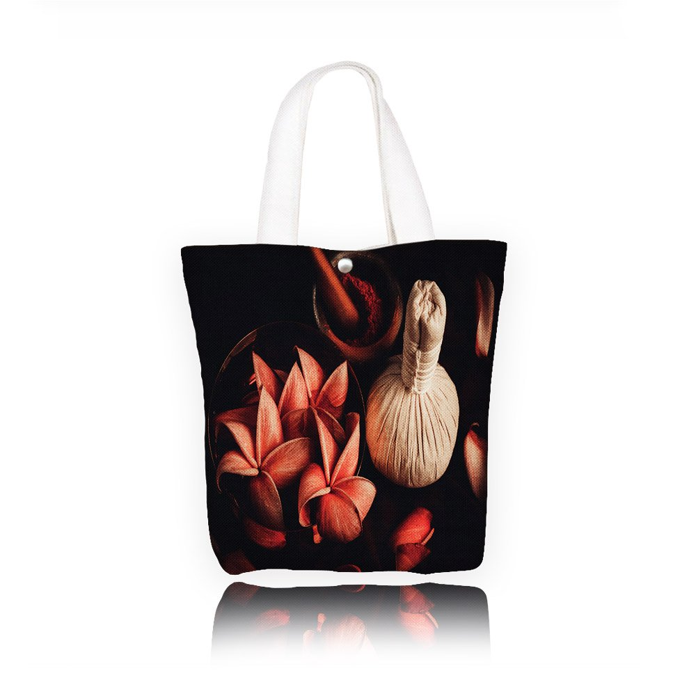 Philip C.Williams close up view of spa theme objects high angle view Fashion canvas Print Tote Handbag Weekend Shopping Tote Bag