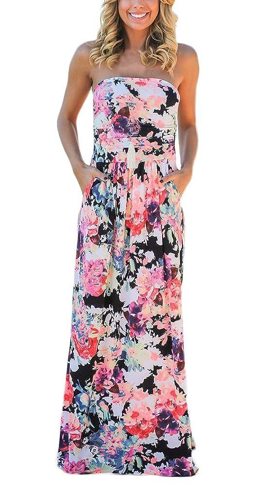 Damen sommerkleider Langes tailliert mit Blumenprint Bandeau kleid Elegant A Linie Swing rüschen rückenfrei schulterfrei maxikleider strandkleider partykleid