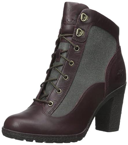 Timberland Women's Glancy Fabric/Leather Hiker Winter Boot, Burgundy  Euroveg/Dark Green Recanvas