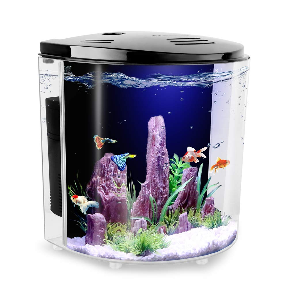 FREESEA 1.4 Gallon Half Moon Small Betta Aquarium Fish Tank with LED Light and Filter Pump by FREESEA