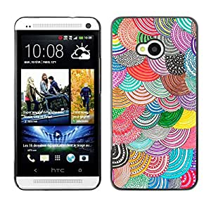 GIFT CHOICE / Teléfono Estuche protector Duro Cáscara Funda Cubierta Caso / Hard Case for HTC One M7 // Colourful Spiral Drawing //