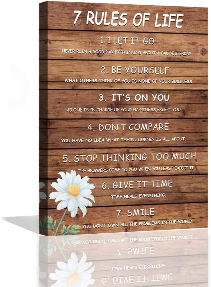 7 Rules of Life Motivational Wall Art for Man Office Wooden Planks Background Inspirational Wall Art for Bedroom Bathroom Dining Room Gallery Wrapped Positive Quotes Canvas Wall Decor Framed 12x16inch