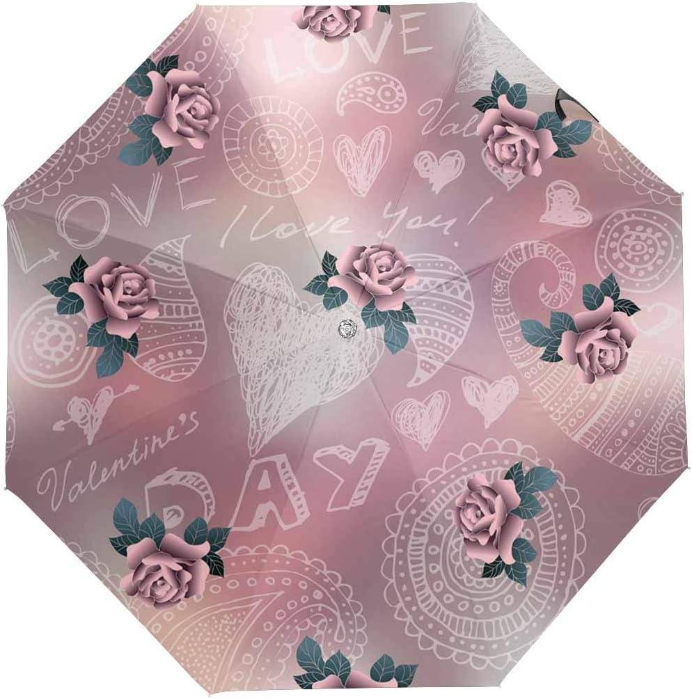 InterestPrint Custom Vintage Rose Florals Anti Sun UV Foldable Travel Compact Umbrella