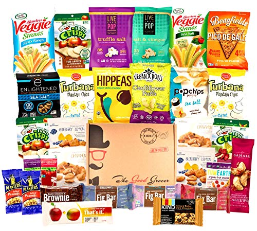 ALL NATURAL Healthy Snacks Care Package (30 Ct): Bars, Cookies, Vegan Puffs, Crispy Fruit, Trail Mix, Gift Box, Office Assortment Variety Pack, College Student Military Care Package, Gift Basket]()
