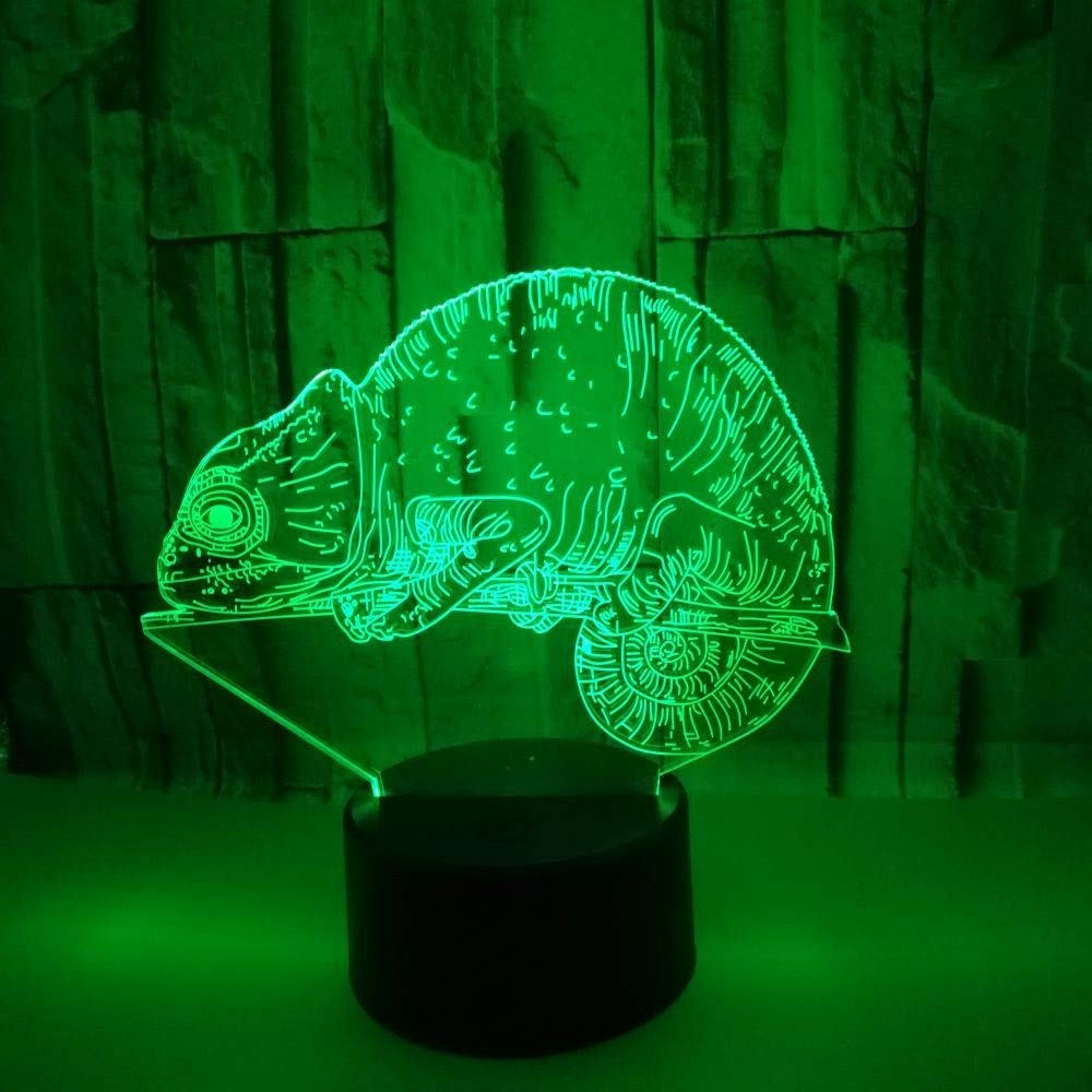 YWYU Creative 3D Night Light LED Illusion Lamp 7 Colors Gradually Changing Chameleon Light USB Touch Switch Decorative Bedside Lamp Remote Control for Boys Girls Toys Gifts