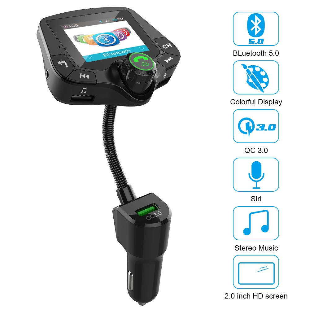 TF Card USB Drive Mp3 Player Bluetooth FM Transmitter for Car AUX Input//Output 2.0 inch Large Colorful HD Screen Wireless Radio Adapter with Hands-Free 5.0 Bluetooth QC3.0 Smart 2.4A 2 USB Ports
