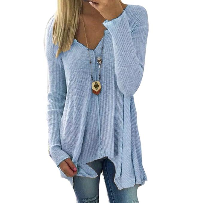 Yying Manga Larga Camisetas Para Mujeres - Elegante Shirt Moda Cuello V Blusa Color Sólido Camiseta