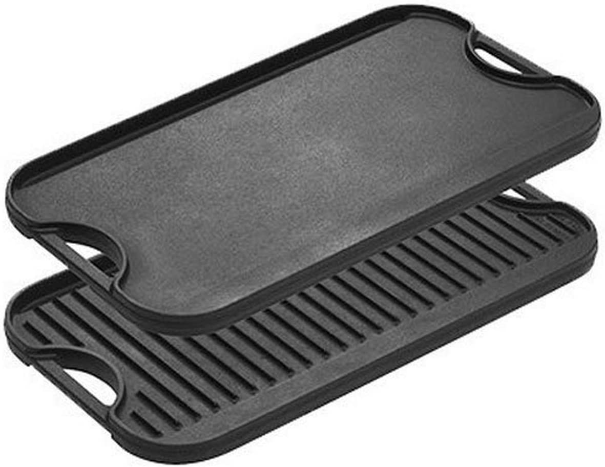 Lodge Pre-Seasoned Cast Iron Reversible Grill/Griddle With Handles, 20 Inch x 10.5 Inch - One tray: Kitchen & Dining