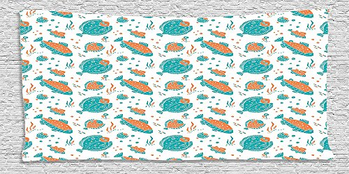 Trout Pool Table (Cotton Microfiber Bathroom Towels Ultra Soft Hotel SPA Beach Pool Bath Towel Home Collection Flounder and Trout Naive Lino Style Algae Underwater Marine Ocean Sea Life Fish Pattern Green)