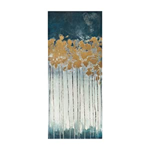 Madison Park Midnight Forest Hand Embellished Décor Gold Abstract Stretched Wall Art for Living Room- 3 Piece Set Painting Canvas Teal