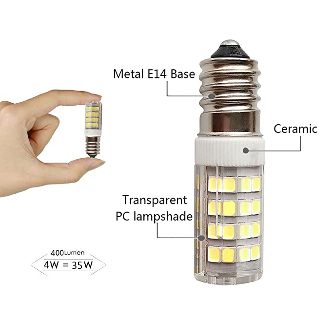SFTlite [2 unidades] E14 SES Bombilla LED 4W-400lm - Blanco Fresco 6000K 360 ° ángulo-LED Energía Bombillas Rosca Edison Pequeña con Super Brillante ...