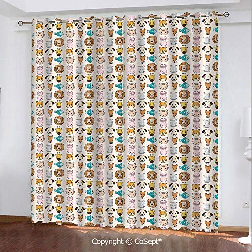 CoSept Window Curtains,Caricature Style Children Animal Portraits Bunny Puppy Kitty Leon Dog Hippo Print Decorative,for Bedroom (2 Panels,51.96x84.64 Inch),Multicolor