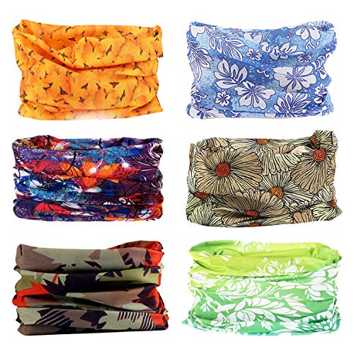 Oureamod Wide Headbands for Men and Women Athletic Moisture Wicking Headwear for Sports,Workout,Yoga Multi Function (Maple leaves-6pcs)