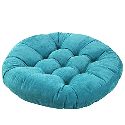 Solid Garden Patio Seat Cushion Pouf Chair Cushion Round Chair Pad Home Floor Cushion 22 Inch Throw Pillows Indoor/Outdoor Blue: Home & Kitchen