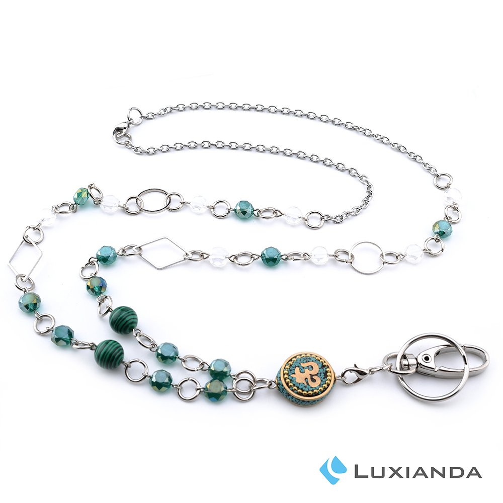 LUXIANDA Creative Design Badge Lanyards ID Necklaces ID Badge Holder for Teachers, Nurses and OL with Different Sizes Beads, Stainless Steel Chain