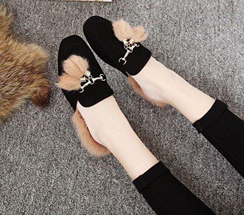 la Cabeza Cuadrada de la Manera de la Mujer Calza el Silenciador Grueso de la Boca Del Pelo Zapatos de Los Zapatos Del Algodón Los Zapatos de Las Mujeres