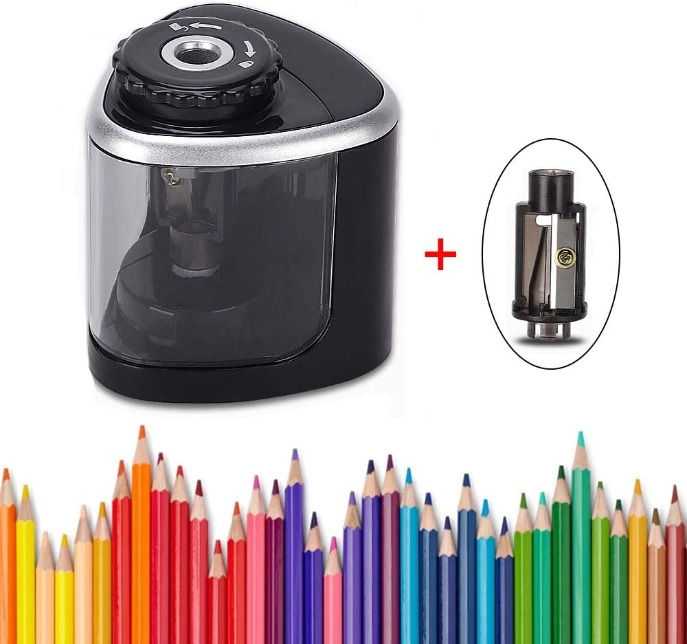 Isightguard Pencil Sharpener - Battery Operated, Ultra Portable Automatic Pencil Sharpener, Ideal for No. 2 and Colored Pencils,Perfect for Home, Office, School, Artist, Students