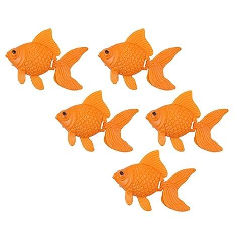 Sourcingmap Plástico Acuario Tanque de Peces Adorno decoración, 5 Piezas, Color Naranja