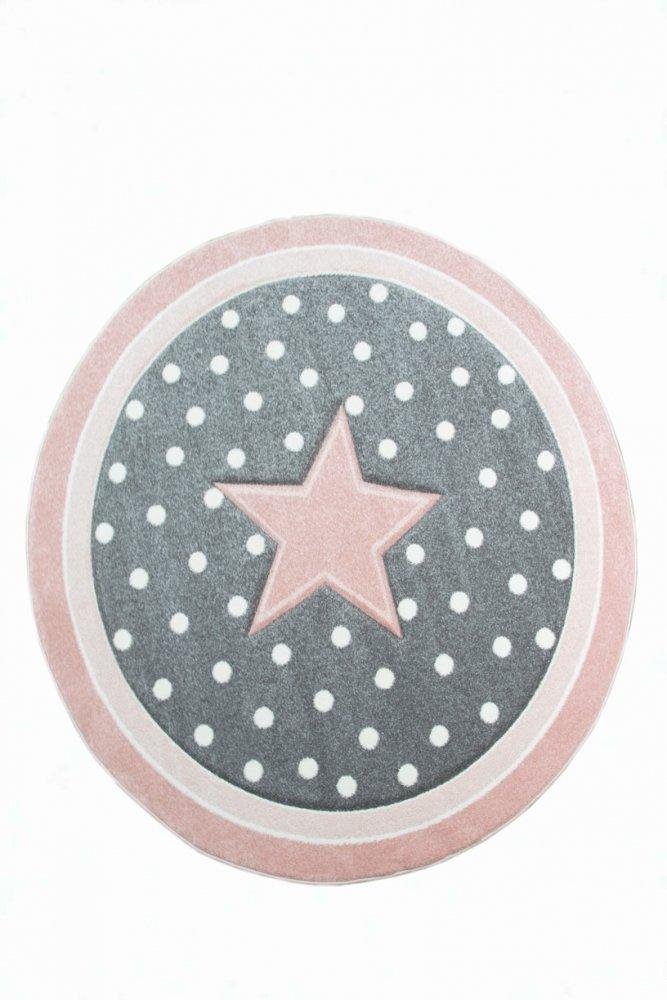 Kinderteppich Spielteppich Babyteppich rund mit Stern in Rosa Grau Weiss Größe 160 cm Rund