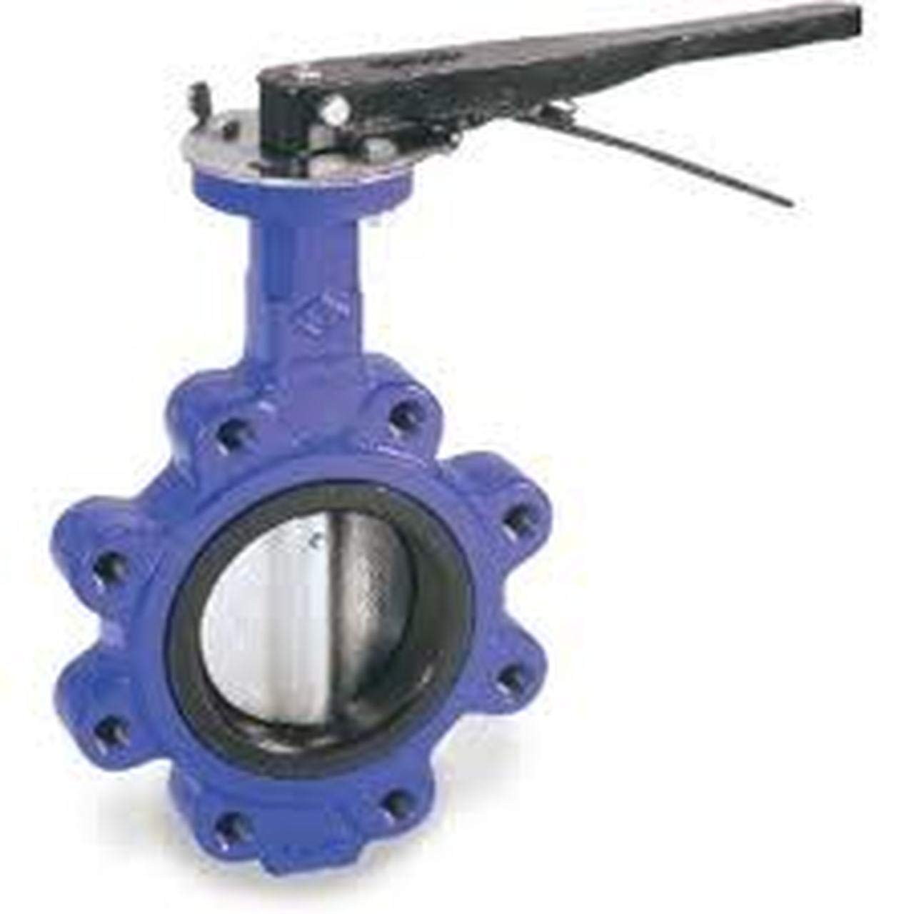 2 in Buna-N Cast Iron Lever Operated Lug Style Butterfly Valve Nickle Plated Disc Buna Seat