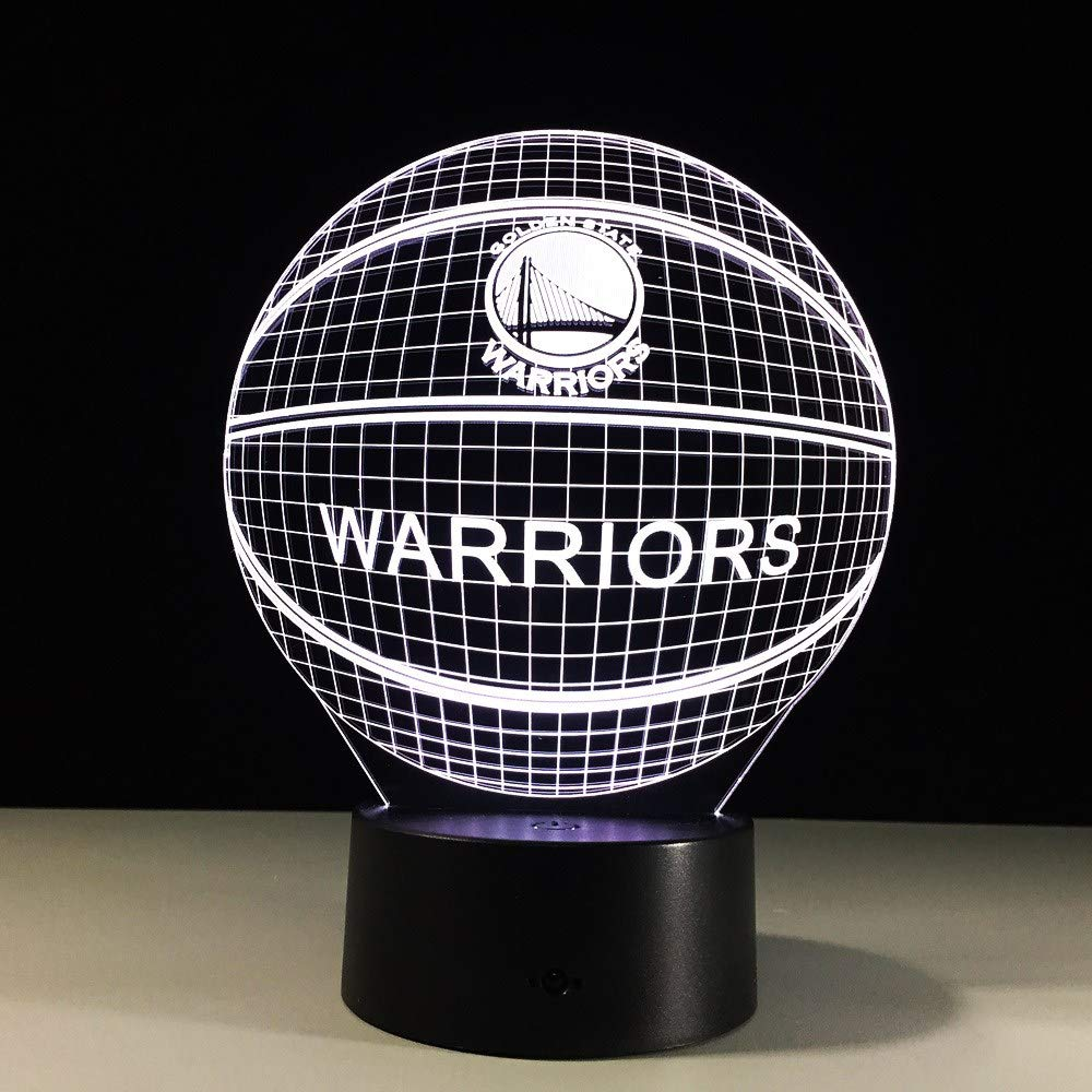 FSEWFS 3D Basketball Golden State Lamp 7 Color Change Night Light Warriors 3D Illusion Acrylic Touch Lamp Sleep Lamp Christmas Kid Gift