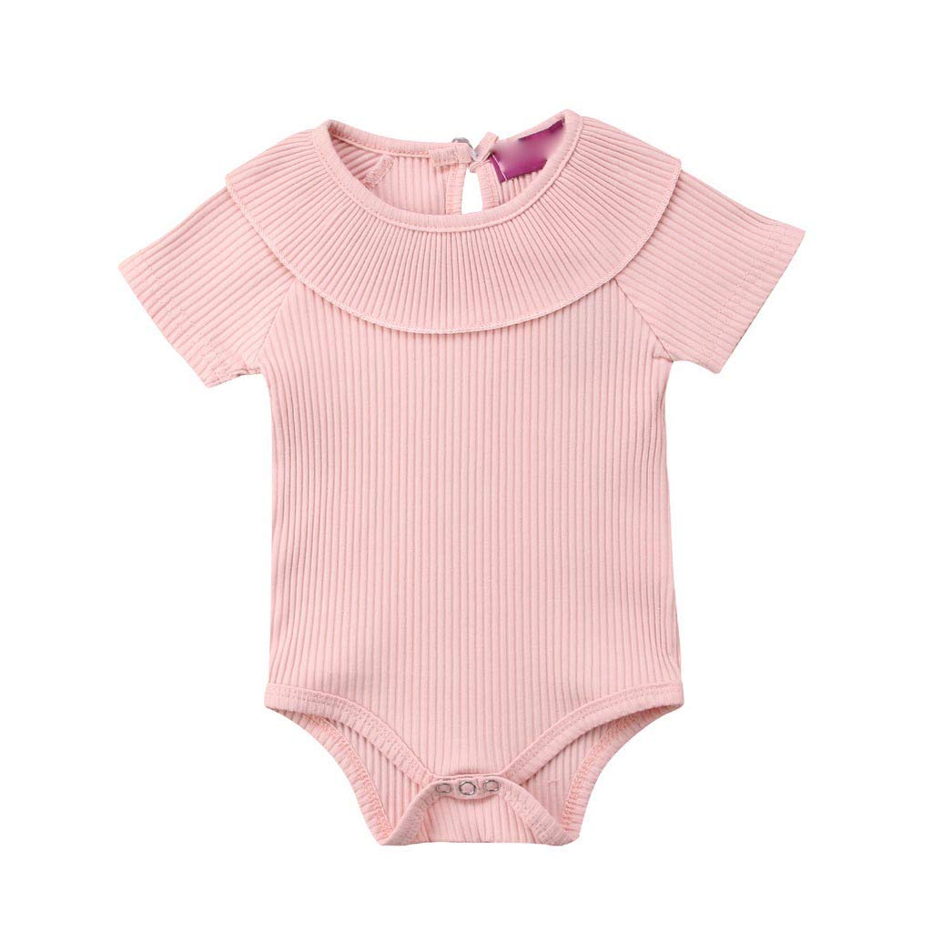 B Bone Baby Girls Boys Clothes Short Sleeve Solid Ruffle Cotton Jumpsuit Kids Toddler Round Neck Bodysuit