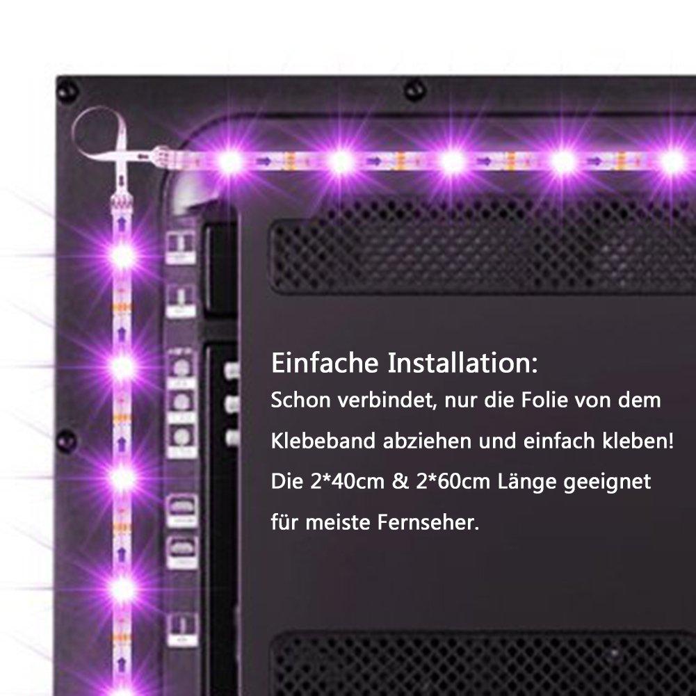 Tobbiheim LED TV Hintergrundbeleuchtung, Fernseher Leiste Einfach ...