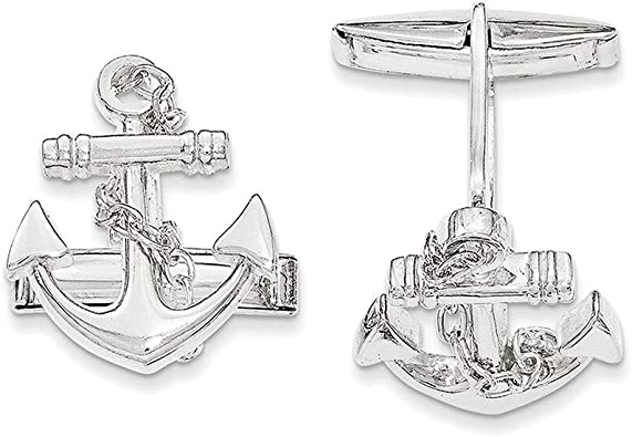 925 Sterling Silver Anchor With Dangle Rope Cuff Links