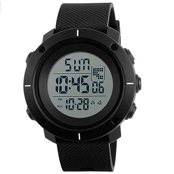 VICVIO Grande Relojes Deportiva juvenil Hombre Numeros de Buceo, correa Soft PU negro, retroiluminado y resistente al agua: Amazon.es: Relojes