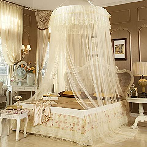 Lucy Fashion Princess Bed Canopy Mosquito Net Netting NEW Bedroom Mesh Curtains (Beige) - Bailey Bedding Canopy Top