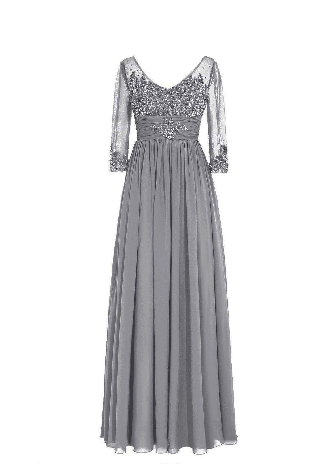 861ebbc545a SDRESS Women s Sequins Lace Appliques Half Sleeve V-Neck Mother of The  Bride Dress Grey Size 18