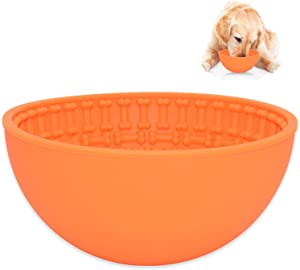 Lick Bowl for Dogs Wobble,Slow Feeder Dog Bowls for Anxiety Relief;Perfect for Food, Treats, Yogurt, or Peanut Butter,Fun Alternative to a Normal Slow Feed Dog Bowl (Orange, Bone Design)