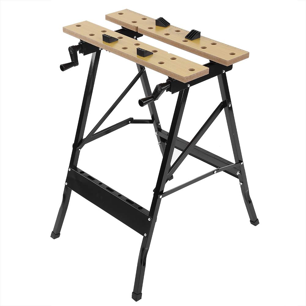 Portable Workbench, Multi-Purpose Folding Workbench and Vice Portable Work Table Sawhorse with Quick Clamp Pegs and Tool Holders for Carpenter Builder DIY Enthusiast 220 lbs Capacity Zerone