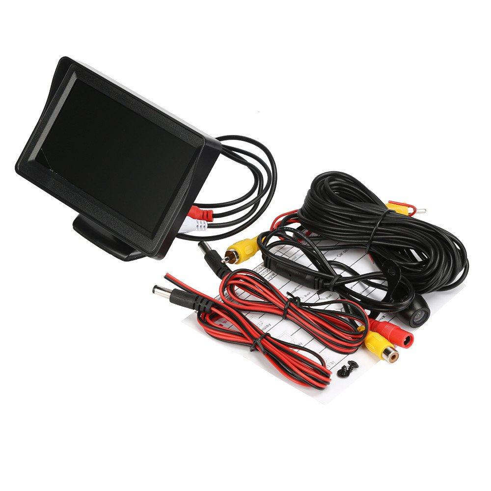 Dacawin 4.3'' LCD Car Rear View Monitor Night Vision Reverse Backup Camera Waterproof (Black)