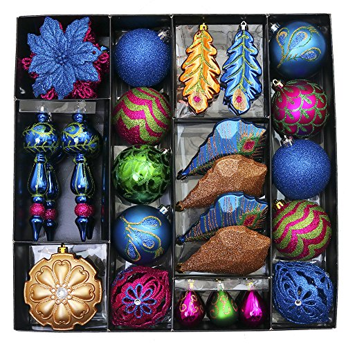 Peacock Christmas (Valery Madelyn 50ct Regal Peacock Shatterproof Christmas Ball Ornaments Decoration, 50-175mm/1.97-6.89inch, 50 Pcs Metal Hooks Included)