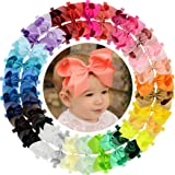 WillingTee 30 Pieces Big 6 Inch Boutique Grosgrain Ribbon Hair Bows Big Baby Girls Bows Headbands for Baby Girls Infants…