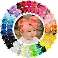 WillingTee Baby Girls Headbands 30 Colors Big 6 Inch Boutique Grosgrain Ribbon Hair Bows Big Baby Girls Bows Headbands…