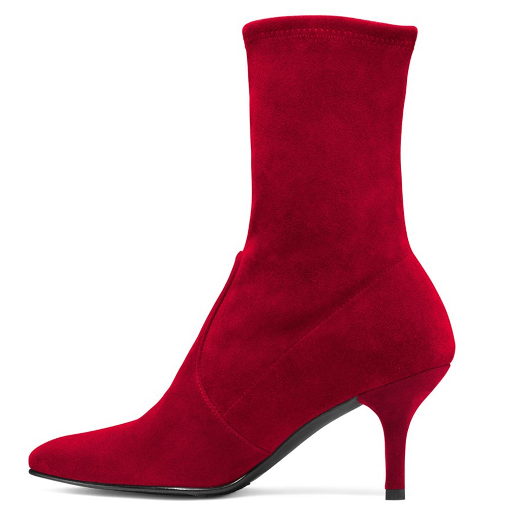 Sock Boots for Women,Women's Slip On Pointed Toe Mid Calf Boots Stretchy Suede Kitten Heel Booties B078RDTWGB 12 B(M) US|Red Suede-6.5cm