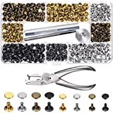 Bememo 240 Set Leather Rivets Double Cap Rivet Tubular Metal Studs 2 Sizes with Punch Pliers and 3 Pieces Setting Tool Kit for Leather Craft Repairs Decoration, 4 Colors